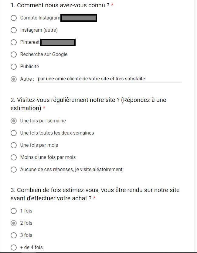 Google Forms, excellent outil pour mettre en place une enquete satisfaction, et qui indirectement va fidéliser votre client grâce à un coupon réduction en remerciement de leur réponse