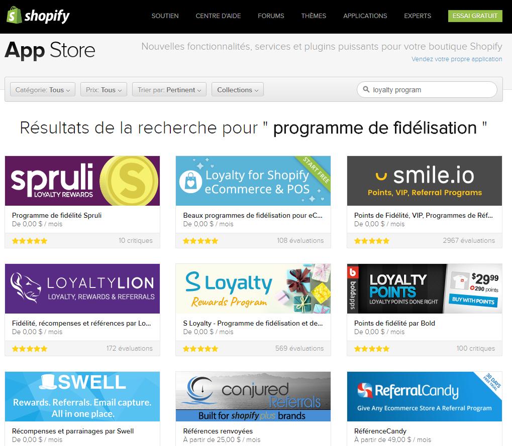 L'app store de Shopify permet de mettre en place des programmes fidélisation client en automatique