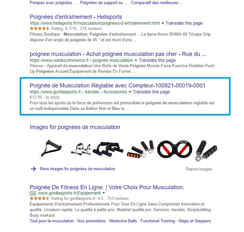 fiche produit optimisé résultat google