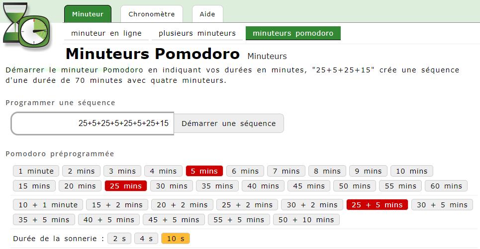 minuteur Pomodoro sur le site Minuteurs pomodoro. Très efficace pour réussir à se concentrer dans son travail